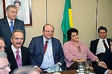 Reunião sobre Código Florestal - Nelson Marquezelli, relator Aldo Rebelo, líder Cândido Vaccarezza, ministra Izabella Teixeira e líder do PT, Paulo Teixeira.