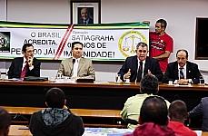 Reunião administrativa com integrantes do movimento pela aprovação da PEC 300/08 - Deputados Delegado Protógenes (PCdoB-SP), Mendonça Prado (presidente),  Arnaldo Faria de Sá (PTB-SP) e Lourival Mendes (PCdoB-MA)
