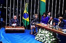 Sessão do Congresso Nacional no Plenário do Senado  para promulgação da PEC) 66/12, que garante aos empregados domésticos direitos já assegurados aos demais trabalhadores. Vice presidente da Câmara André Vargas