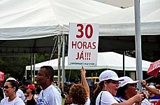 Manifestantes pedem a regulamentação da Jornada de Trabalho dos Profissionais de Enfermagem