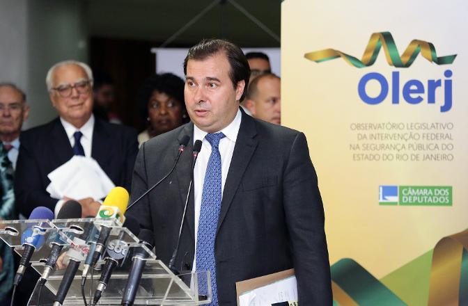Lançamento do Observatório Legislativo da Intervenção Federal na Segurança Pública do Estado do Rio de Janeiro - Olerj. Presidente da Câmara dep. Rodrigo Maia (DEM-RJ)