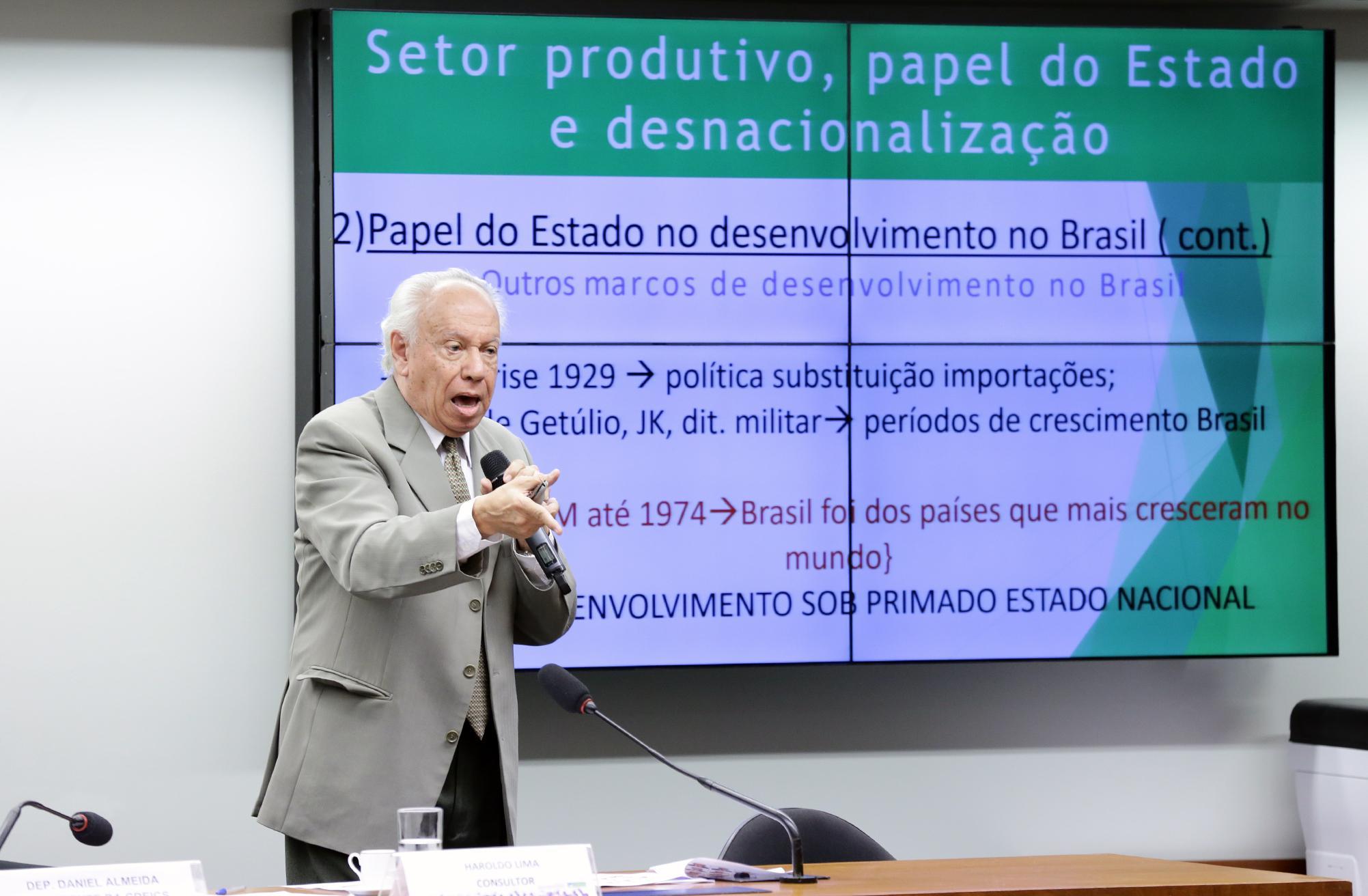 Setor Produtivo, papel do Estado e desnacionalização . Consultor de Empresas Petrolíferas Brasileiras, Haroldo Lima