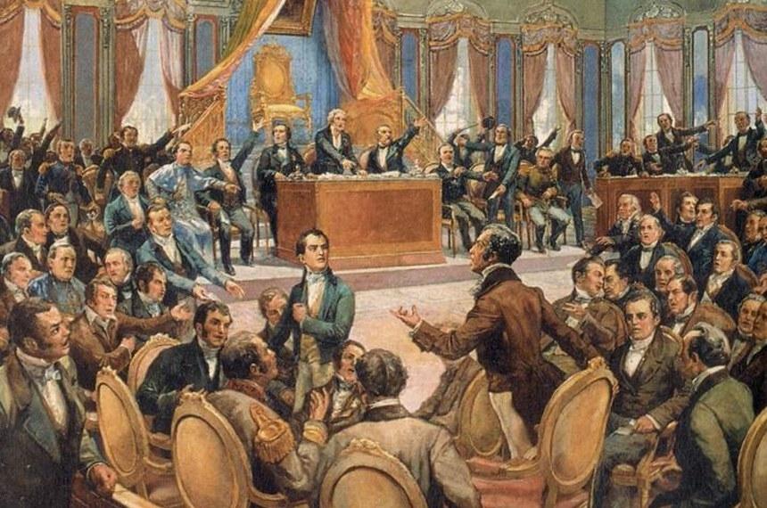 Quadro retrata reunião a Assembleia Constituinte de 1823