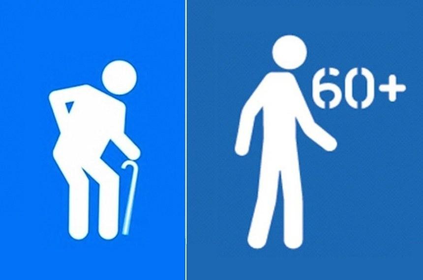 Direitos Humanos - Idosos - Placa - Símbolo atual com idoso encurvado com bengala,é considerado pejorativo e há campanha para que seja substituído