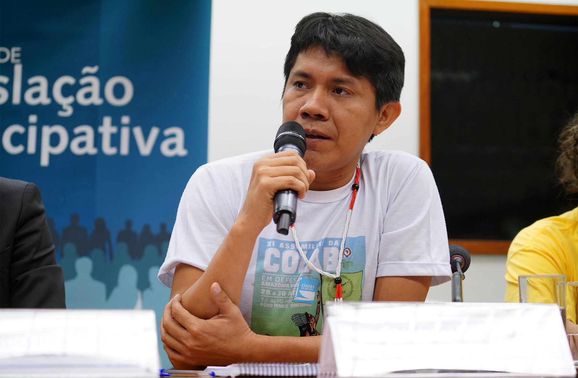 Audiência pública em comemoração aos 10 Anos da Lei de Cotas. Vice-Coordenador das Organizações Indígenas da Amazônia Brasileira - COIAB, Mário Nicácio