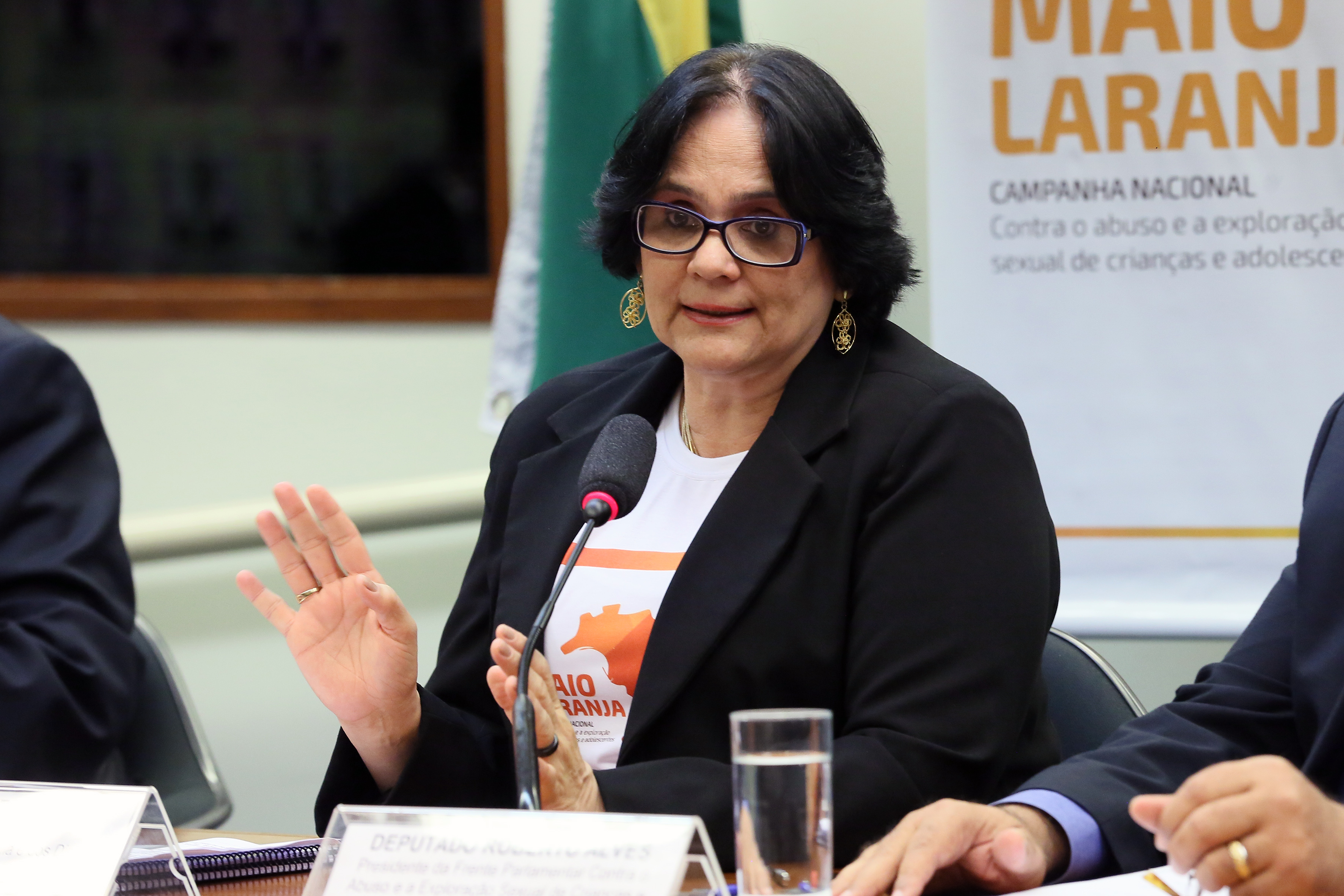 Reunião para anunciar mudanças no Disque 100 e divulgar um balanço de atendimentos de violência sexual contra crianças e adolescentes. Ministra da Mulher, da Família e dos Direitos Humanos do Brasil, Damares Alves