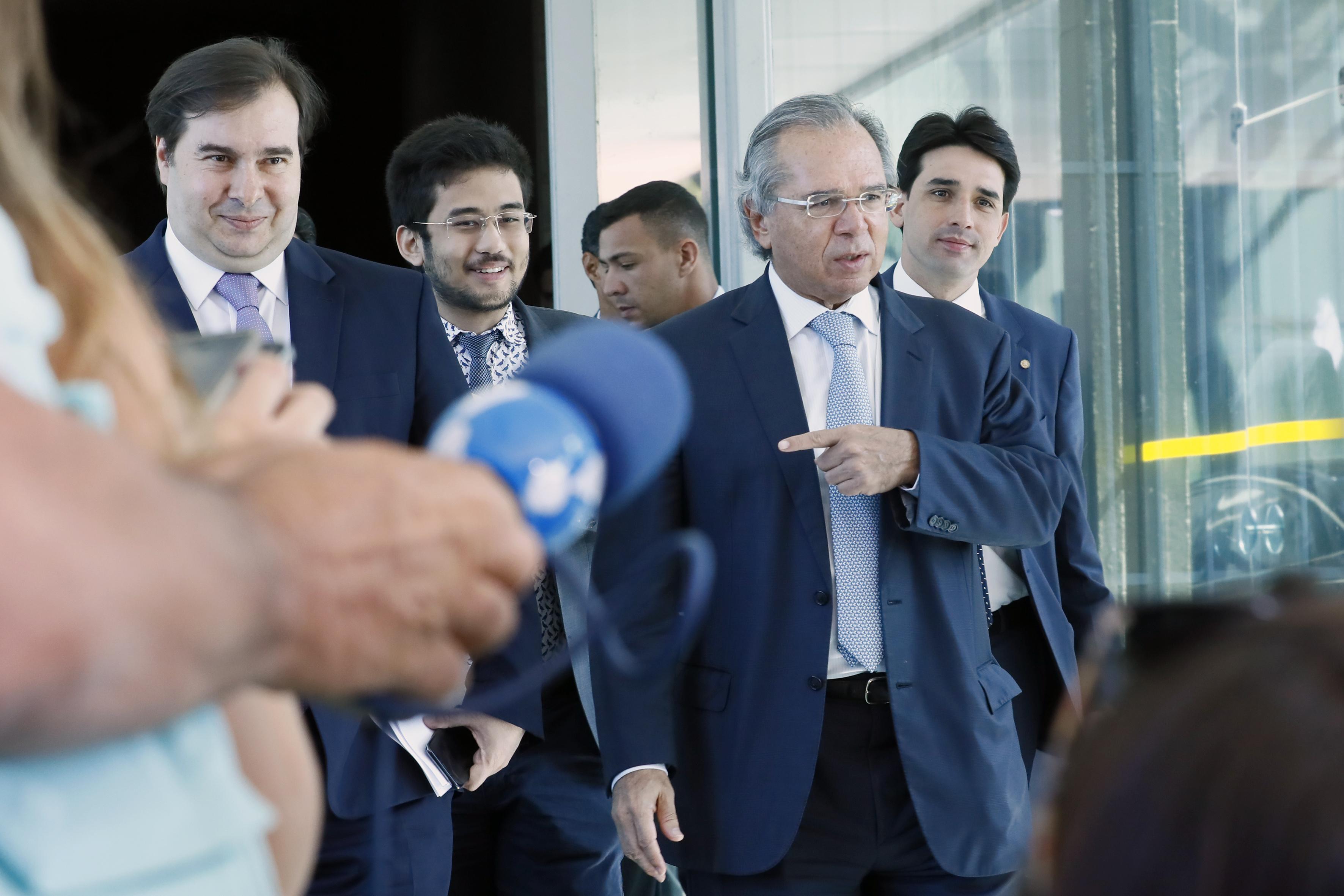 Presidente da Câmara dos Deputados, dep. Rodrigo Maia (DEM-RJ) em reunião com o Ministro da Economia, Paulo Guedes