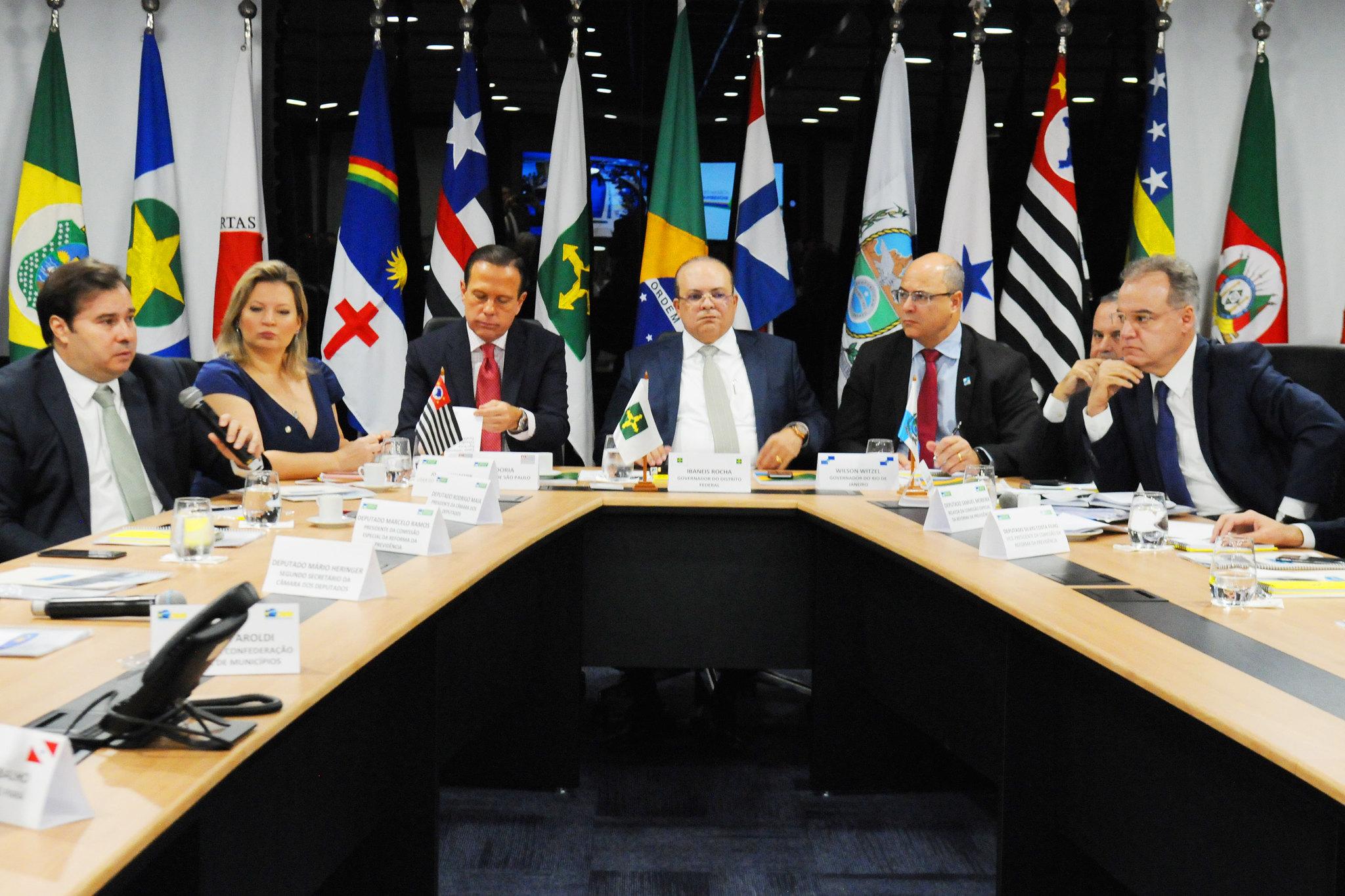 Fotos do Dia - reunião presidente da Câmara Rodrigo Maia governadores reforma Previdência