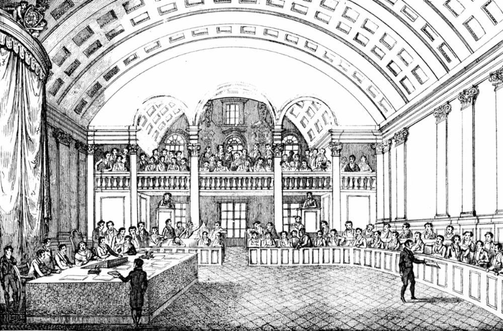 Interior da Cadeia Velha, que abrigou a Constituinte de 1823 e onde funcionou posteriormente a Câmara dos Deputados até 1923.
