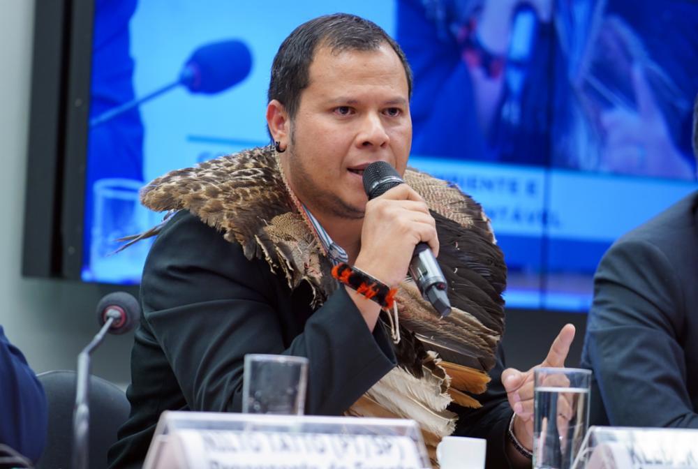 Audiência pública sobre a Atualidade, os Desafios e as Perspectivas do Fundo Amazônia. Assessor do COIAB - Consórcio dos Estados da Amazônia Brasileira, Kleber Karipuna