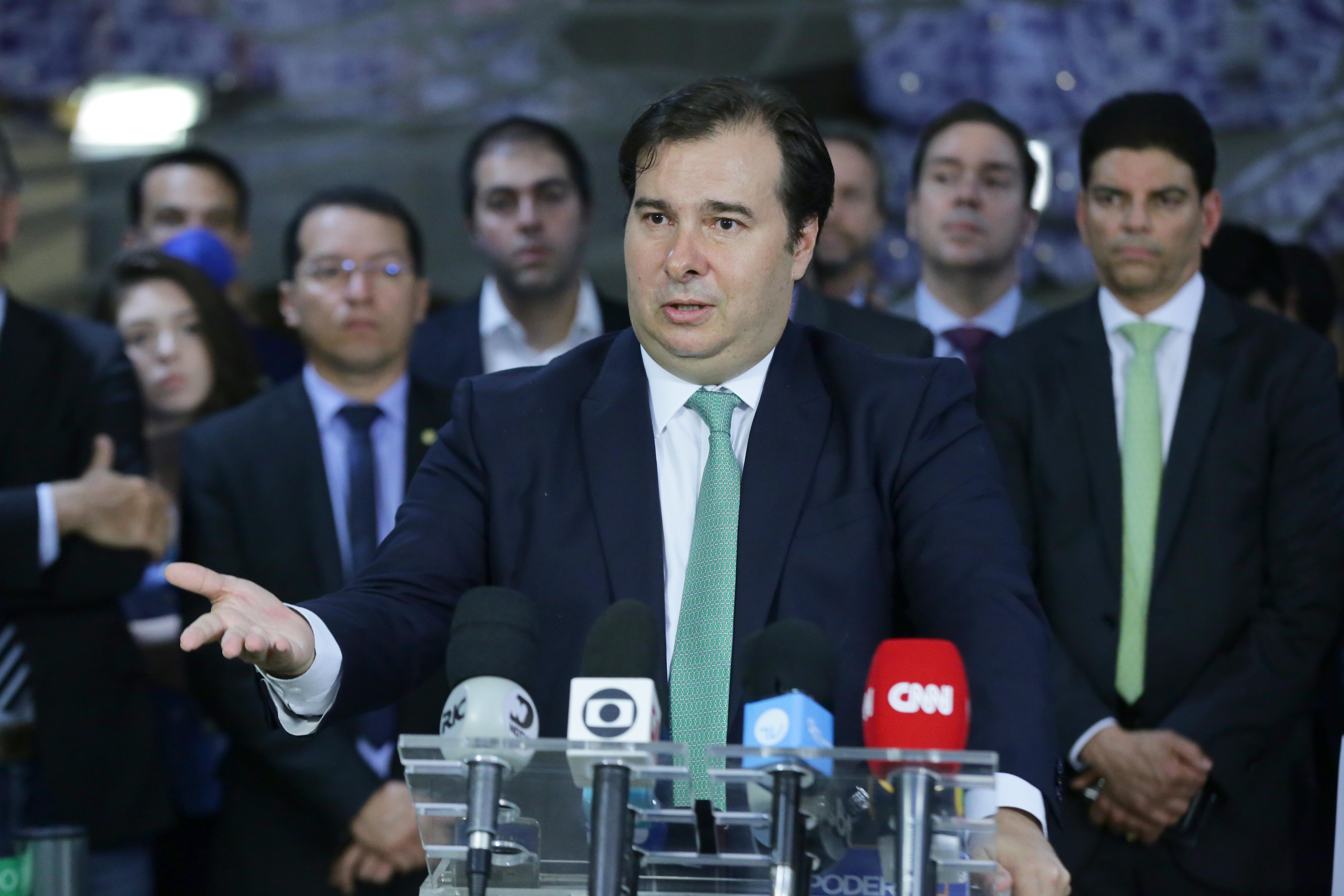 Presidente da Câmara dos Deputados, dep. Rodrigo Maia, concede coletiva de imprensa sobre as ações de combate ao coronavírus