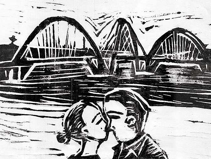 o beijo e a ponte - Xilografia Valdério Costa