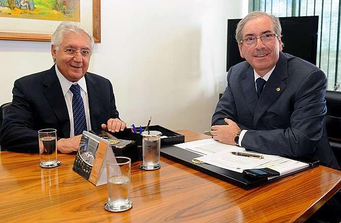 Presidente Eduardo Cunha recebe em audiência o ministro da micro e pequena empresa Guilherme Afif Domingos