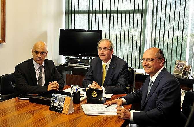 Presidente da Câmara, dep. Eduardo Cunha (PMDB-RJ) recebe o governador de São Paulo, Geraldo Alckmin (D)