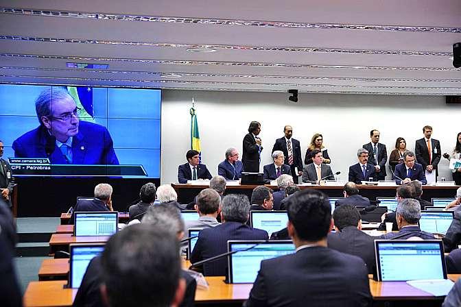 Presidente Eduardo Cunha participa da reunião da CPI da Petrobras.