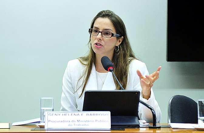 Audiência pública para subsidiar o relator dos Projetos de Leis nºs 8.038/14, que dispõe sobre escolas de formação de atletas destinadas a crianças e adolescentes, e 8.287/14 apensado. Procuradora do Ministério Público do Trabalho, Geny Helena Fernandes Barroso