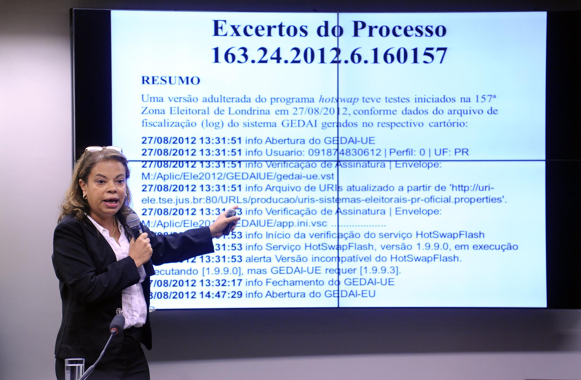 Audiência pública sobre o Sistema de Votação Eletrônica. Advogada, membro do Conselho Multidisciplinar Independente (CMind), Maria Aparecida da Rocha Cortiz