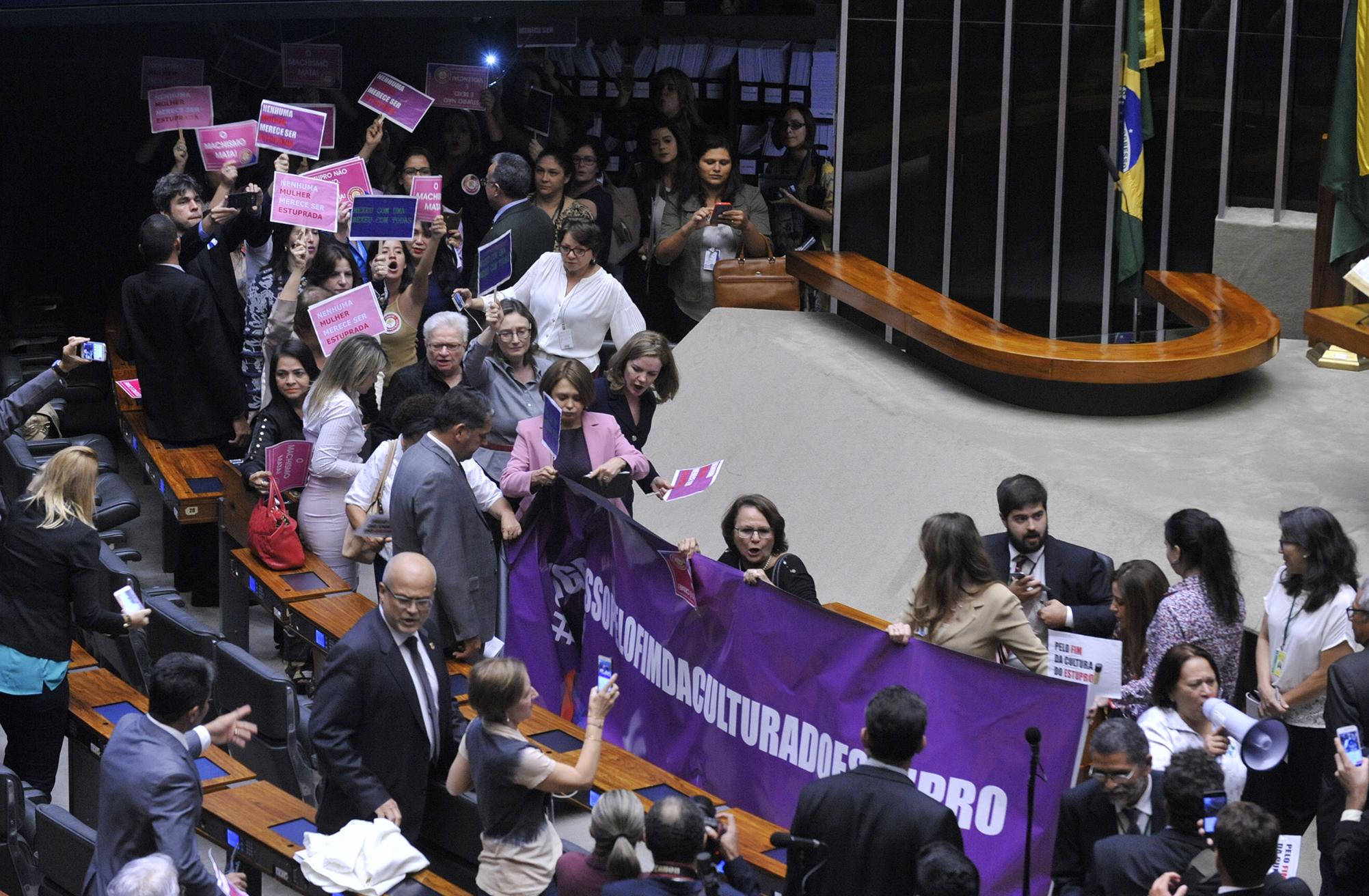 Deputadas e Senadoras invadem o plenário para protestar pelo fim da Cultura do estupro