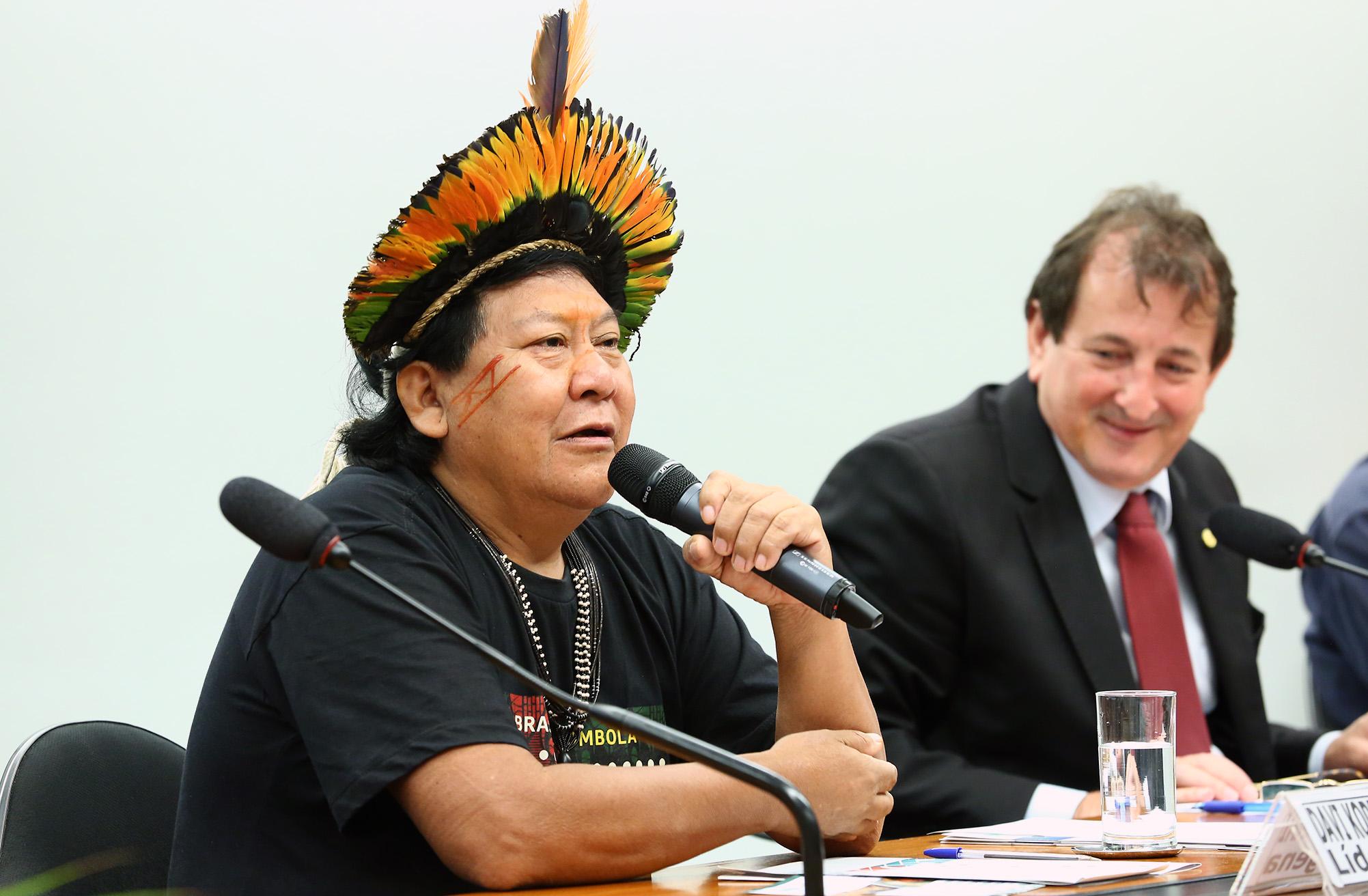Seminário - Percepções e experiências dos Povos Indígenas no Contexto das Mudanças Climáticas. líder indígena, Davi Kopenawa Yanomami