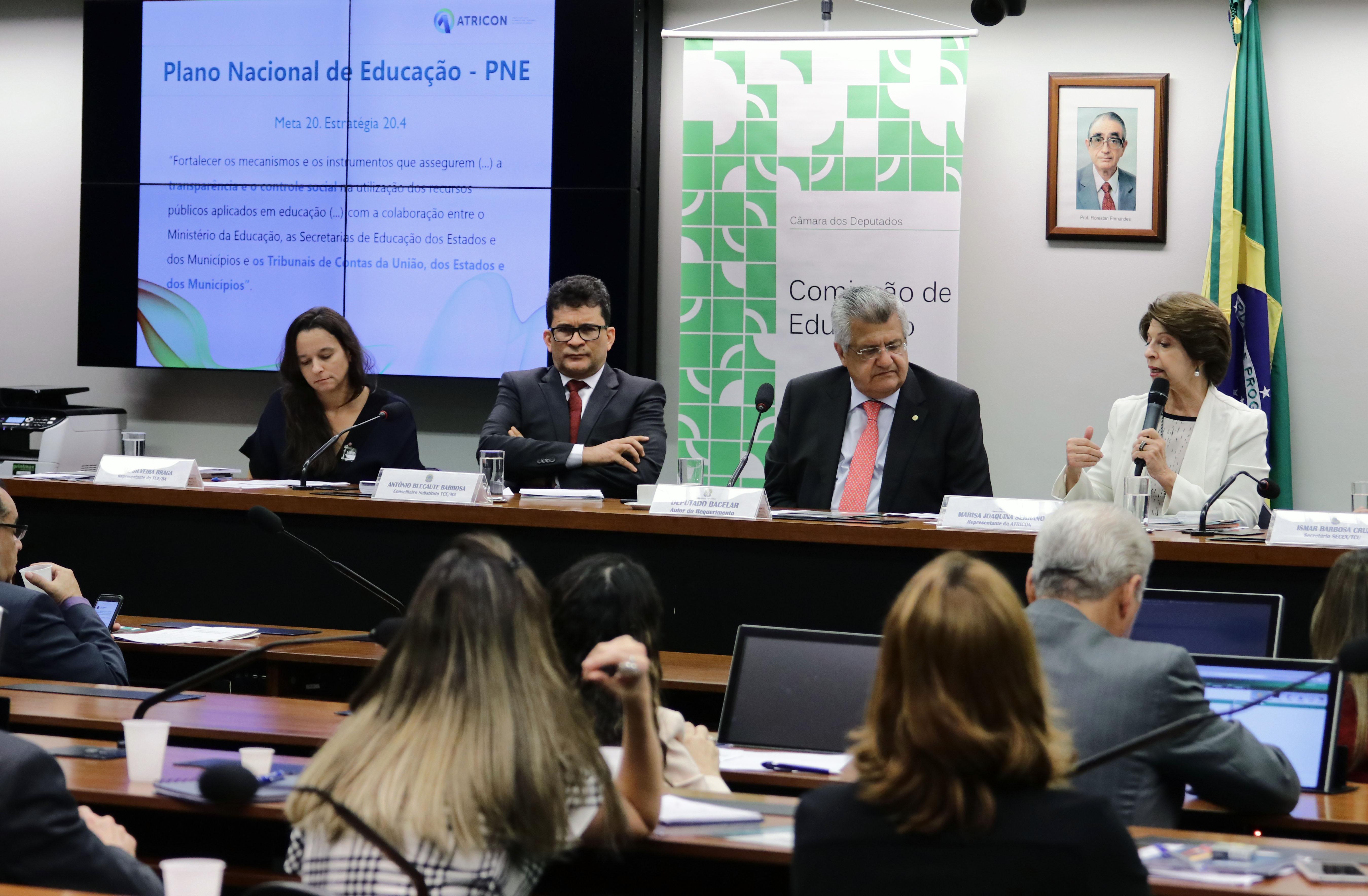 Audiência pública para acompanhar, monitorar e avaliar o processo de implementação das estratégias e do cumprimento das metas do Plano Nacional de Educação - PNE, com a presença de representantes de Tribunais de Contas