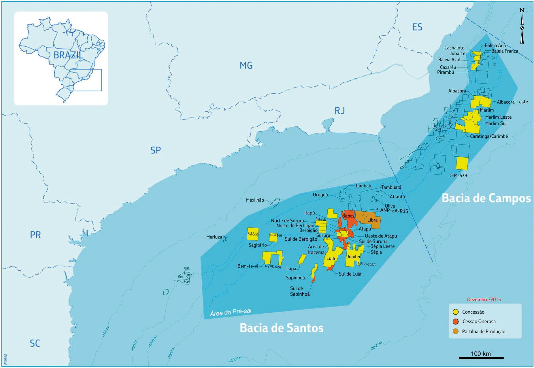 Mapa Concessões Pré-Sal, referente a 2015