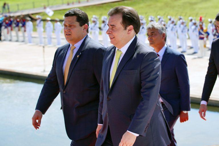 Sessão de inauguração da 2ª Sessão Legislativa Ordinária da 56ª Legislatura. Presidente do Senado, Davi Alcolumbre e presidente da Câmara, Rodrigo Maia