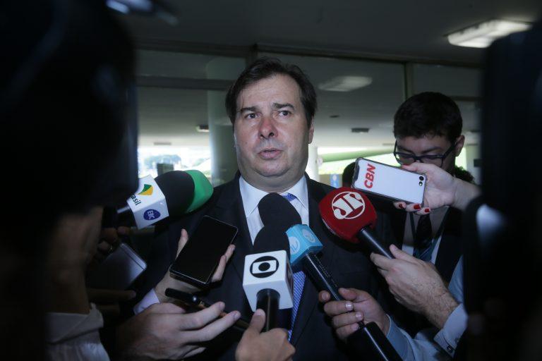 Presidente da Câmara dos Deputados, dep. Rodrigo Maia, concede entrevista.
