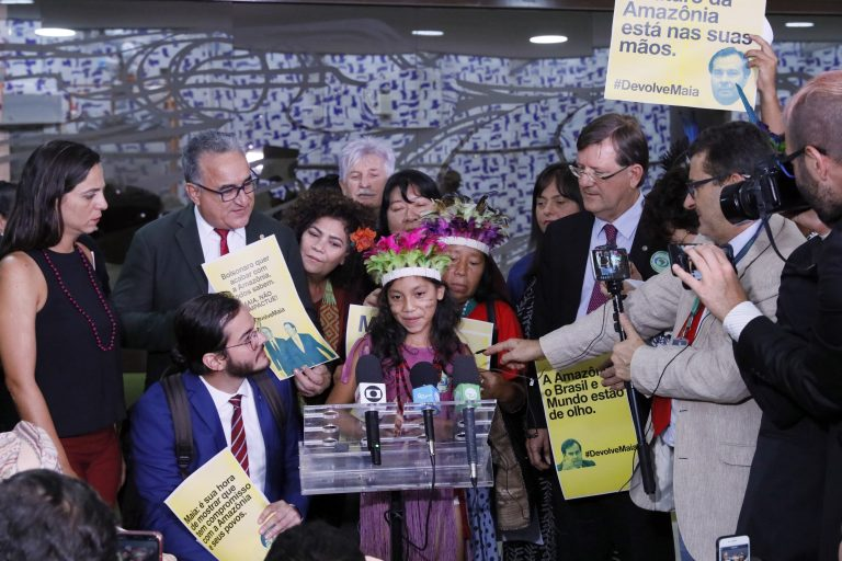 Mobilização contra o projeto que permite mineração em terras indígenas. India Guarani, Fwanfe