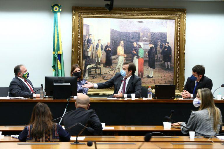 Reunião Técnica com o Sr. General Eduardo Pazuello, Ministro da Saúde. Dep. Carmen Zanotto (CIDADANIA - SC), Presidente da Câmara dos Deputados, dep. Rodrigo Maia (DEM - RJ) e dep. Dr. Luiz Antonio Teixeira Jr. (PP - RJ)