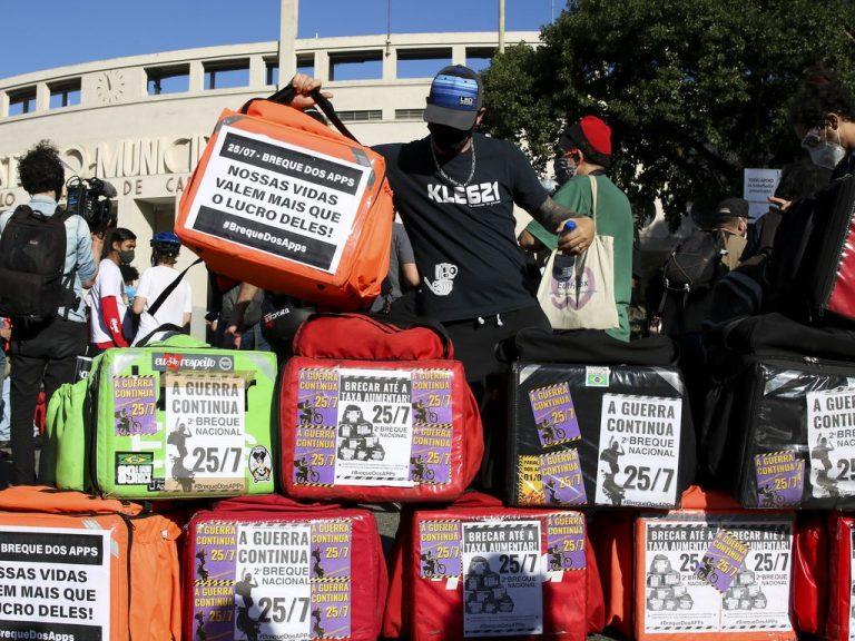 Trabalho - geral - reivindicações entregadores aplicativos delivery protestos manifestações trabalhadores (São Paulo-SP)