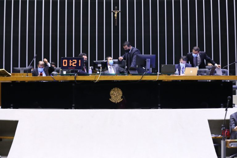Ordem do dia. Vice-presidente da Câmara dos Deputados, dep. Marcos Pereira (REPUBLICANOS - SP) e dep. Luis Miranda (DEM - DF)