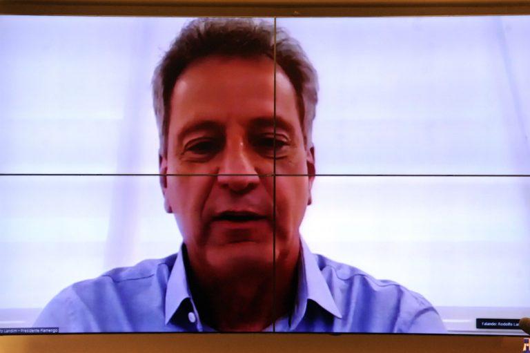 76ª Reunião Técnica por Videoconferência - O Retorno das Atividades do Futebol Brasileiro na pandemia da Covid-19. Presidente do Clube de Regatas Flamengo, Rodolfo Landim
