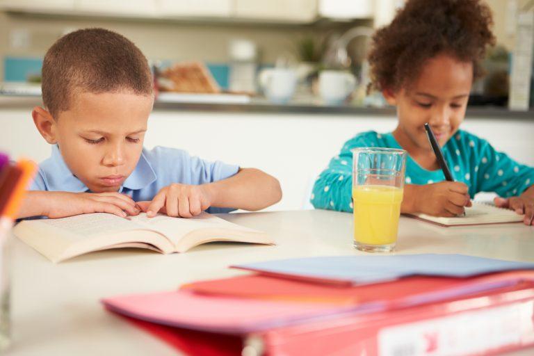 Educação - geral - crianças estudando lição de casa alfabetização estudo ensino domiciliar homeschooling