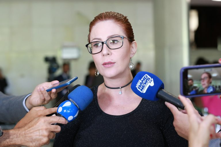 Carla Zambelli dá entrevista à imprensa