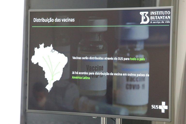Saúde - coronavírus - vacinas Covid-19 pandemia imunização (projeção de tela sobre Instituto Butantan em reunião do comitê empresarial econômico de São Paulo)