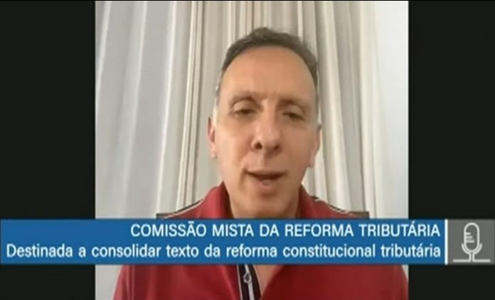 Deputado Aguinaldo Ribeiro em reunião virtual da comissão mista da reforma tributária