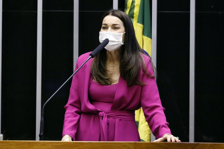 Deputada Margarete Coelho usa máscara facial e discursa no Plenário da Câmara