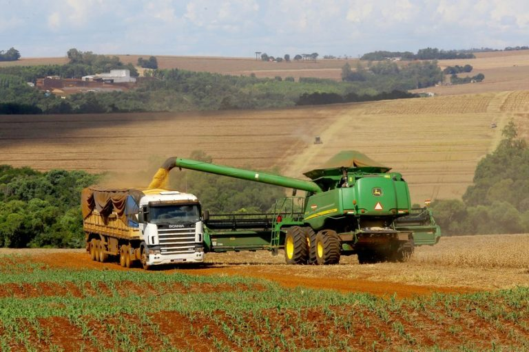 Máquina colhe soja numa fazenda
