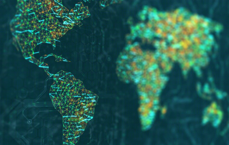 Mapa com linhas coloridas ligando diversos pontos