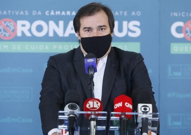 Presidente da Câmara dos Deputados, dep. Rodrigo Maia, concede entrevista coletiva