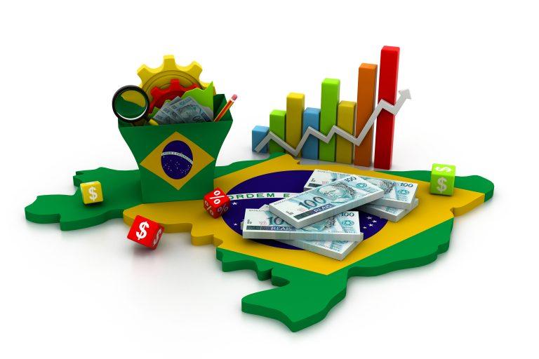 Mapa do Brasil com cédulas e gráficos em cima