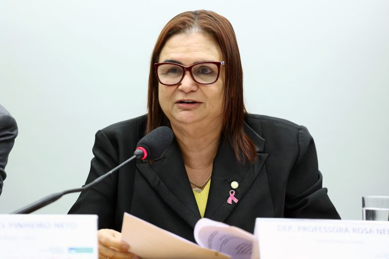 """Deputada Professora Rosa Neide (PT-MT) na Audiência Pública sobre """"Aperfeiçoamento de instrumentos de proteção dos direitos da mulher""""."""