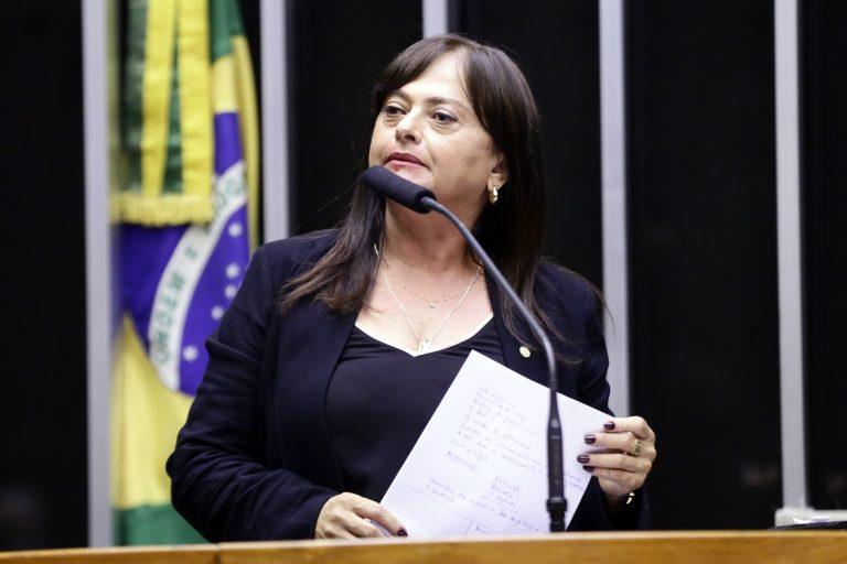 Deputada Alice Portugal discursa no Plenário da Câmara. Ao fundo, há uma bandeira do Brasil