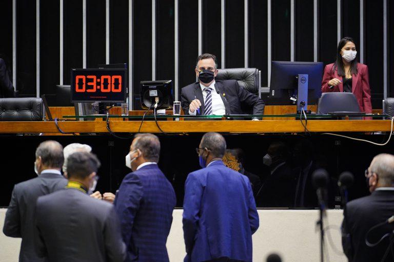 O Presidente do Senado, Rodrigo Pacheco, durante a deliberação de vetos