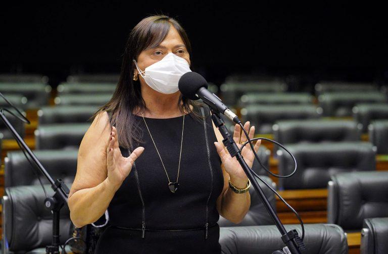 Deputada Alice Portugal usa máscara e discursa no Plenário da Câmara. Ao fundo, há várias cadeiras vazias