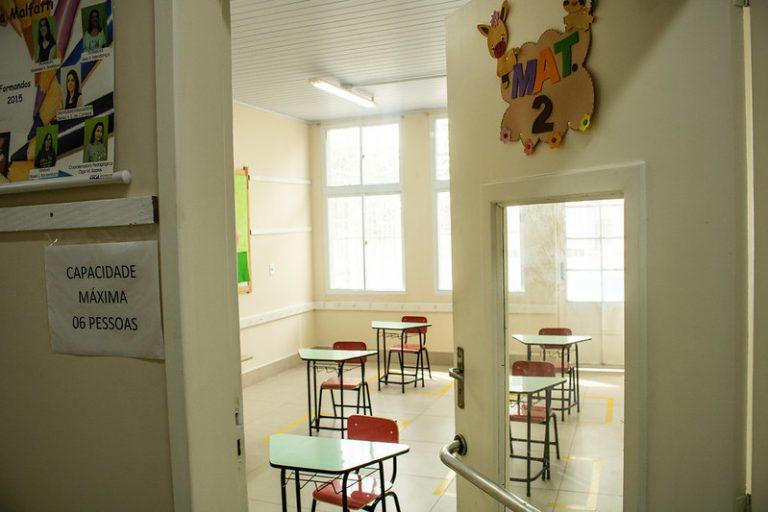 Uma sala de aula vazia por causa da pandemia