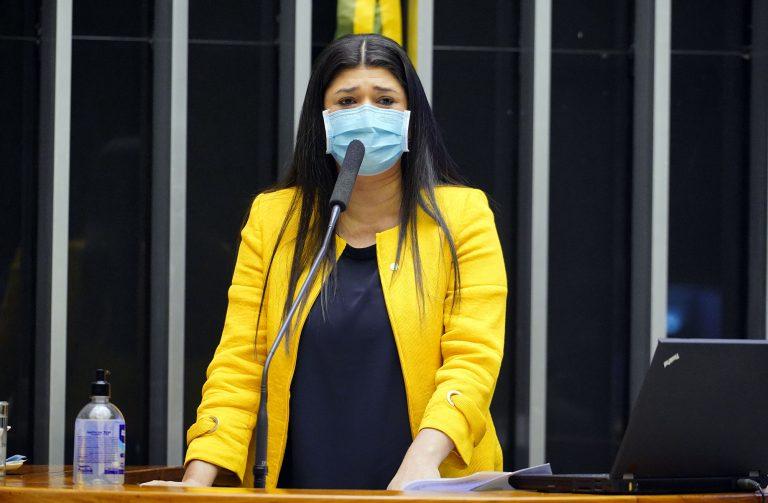 Depurada Rose Modesto usa máscara facial e discursa no Plenário da Câmara