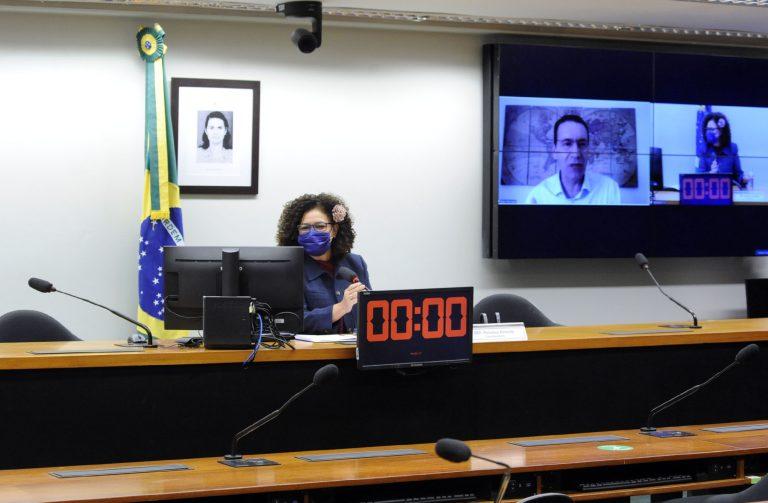 Deputada Perpétua Almeida está de máscara facial sentada falando ao microfone. Ao fundo, um telão transmite a reunião