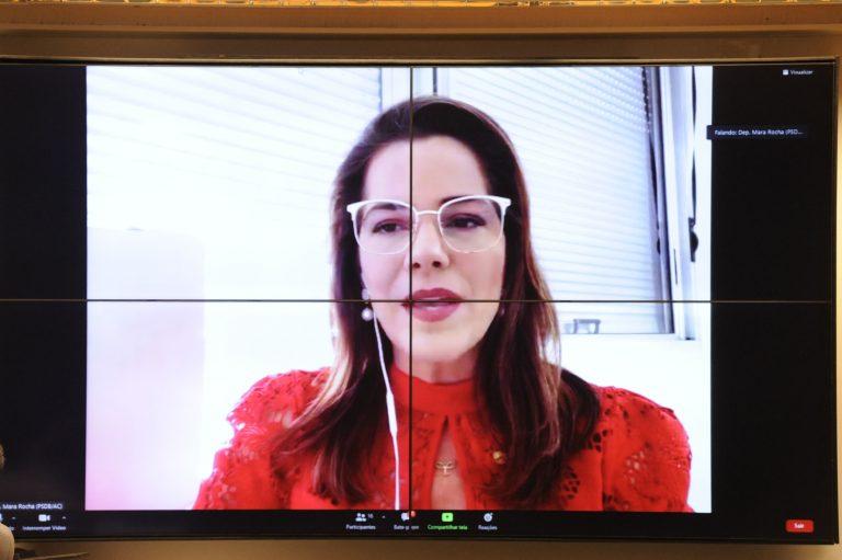 Deputada Mara Rocha participa de videoconferência. Ela fala olhando para a tela do computador