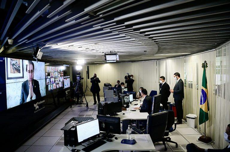 Plínio Valério (na tela) foi o relator do projeto no Senado